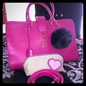 💕STUNNER💕 YSL mono Cabas pink tote w/strap